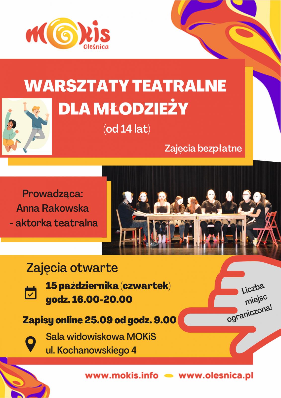plakat młodzież teatr zajęcia