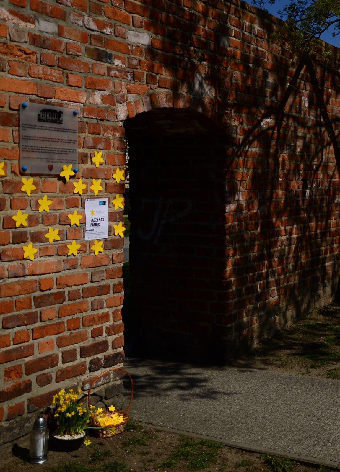 Akcja Żonkile - tablica upamiętniająca synagogę w Oleśnicy