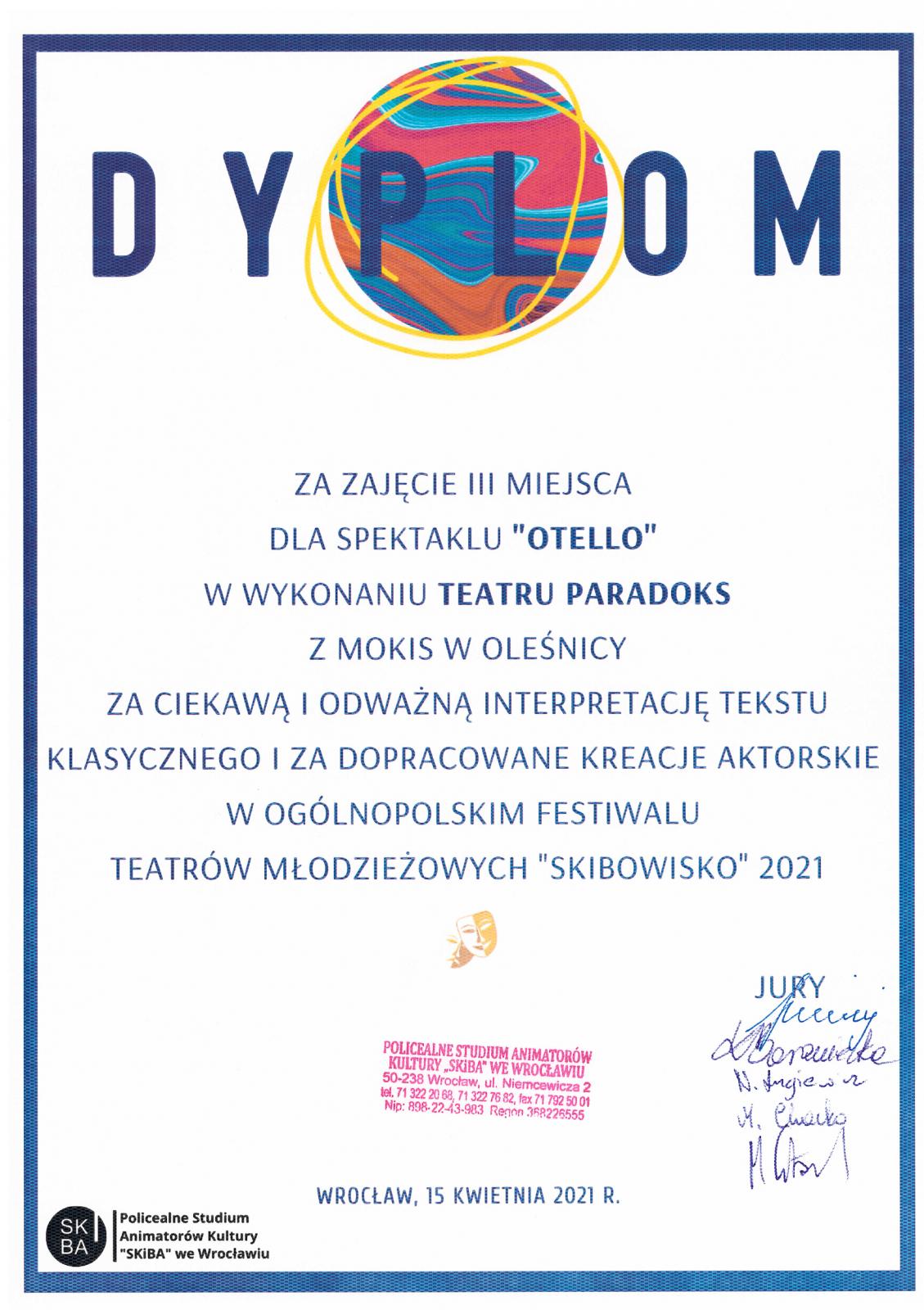 dyplom Skibowisko
