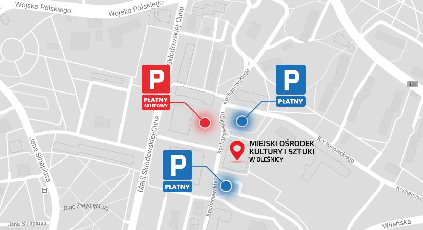 Mapa parkinów w pobliżu MOKiS