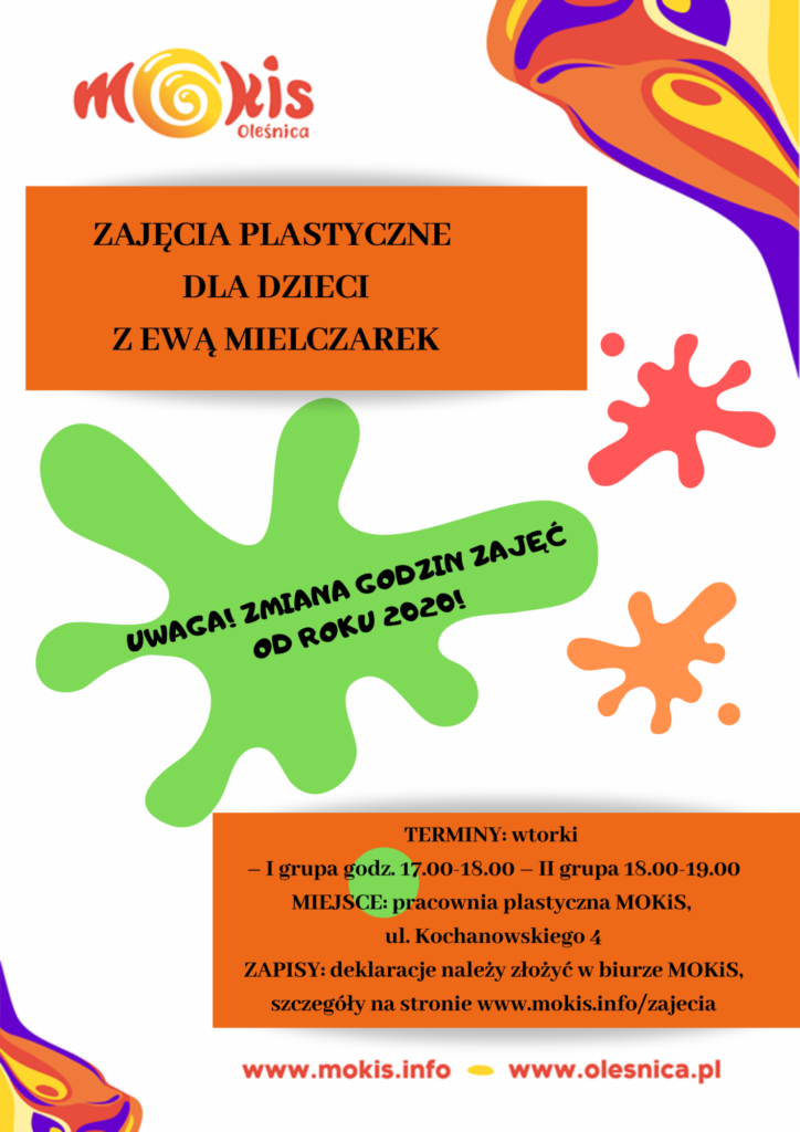 Zajęcia Plastyczne dla dzieci - informacja niedostepna dla niedowidzących (opis dostępny w treści strony)
